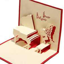paper carved piano 3d laser cut pop up paper handmade postcards