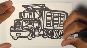 drawing trucks freightliner classic dump truck youtube