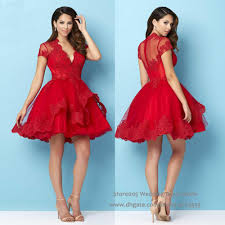 2016 christmas puffy red homecoming short dress for party lace