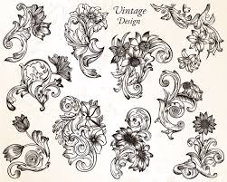 vintage flower ornaments vector set 1 vector illustrations