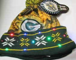 green bay packers lights official licensed nfl big logo light up printed beanie knit cap