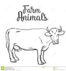 cow in sketch style farm animals stock vector image 69831543