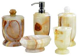 Bathroom Collections Sets White Onyx 5 Piece Bathroom Accessories Set Of Atlantic Collection