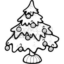 royalty free black and white tree with happy ornaments