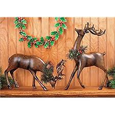 Home Interiors Deer Picture Amazon Com Set Of 2 Holiday Reindeer Figures 12 Inch Faux