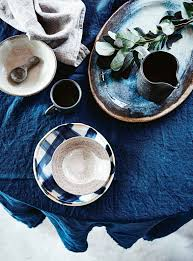 decorating table settings ceramic cups plates and bowls blue