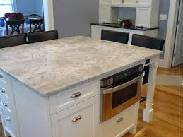 Kitchen Quartz Countertops by Modern White Stained Wooden Island Built In Microwafe Cupboard