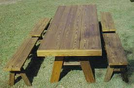 picnic table plans detached benches heavy duty picnic table with 4 4 ft separate benches projects