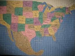 map quilt quilt of united states and mexico vintage quilt