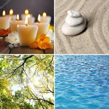 collage of feng shui destructive cycle with five elements water