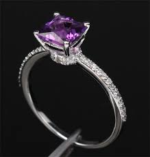 purple diamond engagement rings princess cut purple amethyst 14k white gold pave diamond