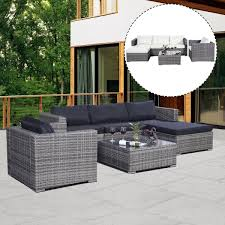 Amazon Patio Furniture Covers by Amazon Com Tangkula 6pc Furniture Set Aluminum Patio Sofa Pe Gray