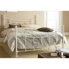 White Metal Kingsize Bed Frame King Size Bed Frame Ivory White Metal Steel Classic Headboard