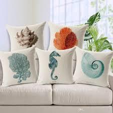 Photo Cushions Online Conch Coral Starfish Seahorse Shell Cushion Covers Marine Sea