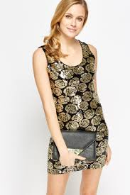 sequin floral bodycon dress black gold just 5