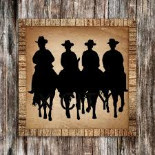 compare prices on cowboys wall murals online shopping buy low western american cowboys riding horses silhouette retro wall art sticker vinyl decal die cut room stencil