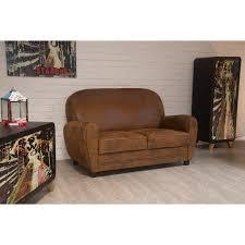 canapé vieux cuir canapé 2 places imitation vieux cuir meuble house achat