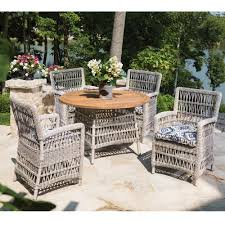 Outdoor Wicker Dining Set Lloyd Flanders Mackinac Woven Vinyl Wicker Dining Table With Teak