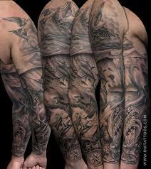 half sleeve arm tattoos black and grey underwater scene sleeve tattoo by david mushaney