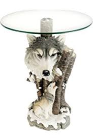 power of books sculptural glass topped side table amazon com wolf sculpture base accent side table with glass top