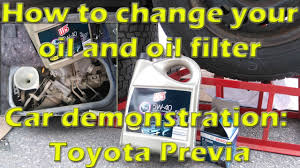 how to change your oil and oil filter car toyota previa youtube