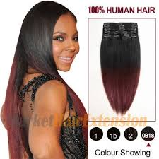 remy clip in hair extensions 20 two colors 1b and 443 ombre indian remy clip in