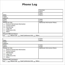 phone call log sheet templates