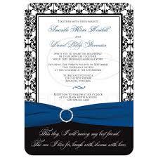 black and blue ribbon wedding invitation black white damask printed royal blue