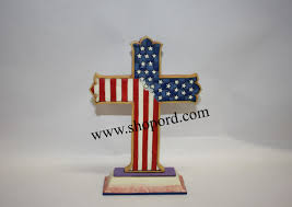 Blue And White Flag Cross Jim Shore God Bless America Patriotic Red White And Blue Cross