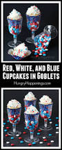 halloween cupcake display red white and blue cupcakes served in wine goblets