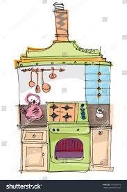 vintage kitchen cartoon stock vector 134393249 shutterstock