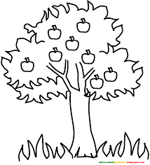 coloring page for kids apple tree many interesting cliparts