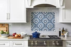 blue kitchen backsplash white cabinets blue