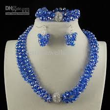 color beads necklace images 2018 3row 6x8mm blue color crystal beads necklace bracelet earring jpg