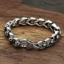 mens bracelet with skull images Star with money skull bracelet 925 sterling silver men friendship jpg