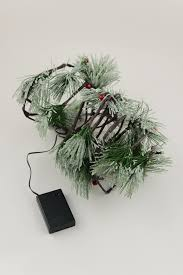pvc pine garland led frosted battery op timer