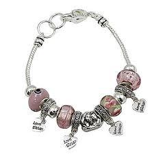 pandora beaded bracelet images Love sister pink murano charm bead bracelet pandora inspired jpg