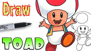 how to draw toad mario coloring pages youtube