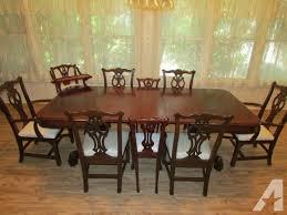 Ethan Allen Heirloom Fiddle Back Nutmeg Maple Duxbury Dining Set - Ethan allen dining room table chairs
