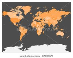 shades of orange names political map world antarctica countries four stock vector 626950472