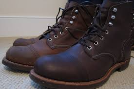 recommended motorcycle boots side by side copper and amber iron rangers both treated with rw