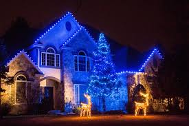christmas christmas light installation residential with blue led