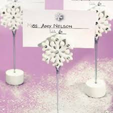 white snowflake place card holders winter wedding decorations