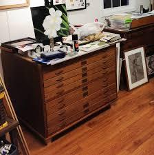 Vintage Oak Filing Cabinet Antique Oak Flat File Chest Drawers Architect Artist Map Used