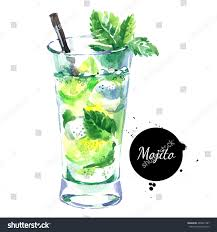 cocktail splash png hand drawn sketch watercolor cocktail mojito stock illustration