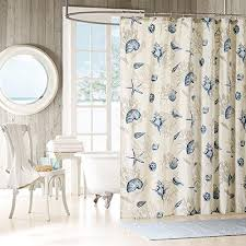Sea Themed Shower Curtains Blue Sea Themed Shower Curtain Motif Nature Sea