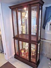 Pulaski Curio Cabinet Used Pulaski Curio Cabinet Lighted Display Mirrored Door Dining Room