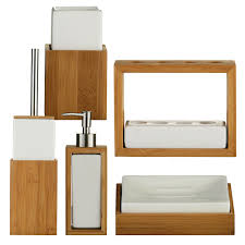 Bamboo Wall Cabinet Bathroom Bamboo Wood White Ceramic Bathroom Accessory Set Of 5 Lotion