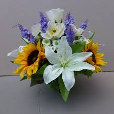 artificial sunflowers pot for memorial vase with artificial sunflowers lilies poppies
