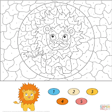 lion color by number free printable coloring pages
